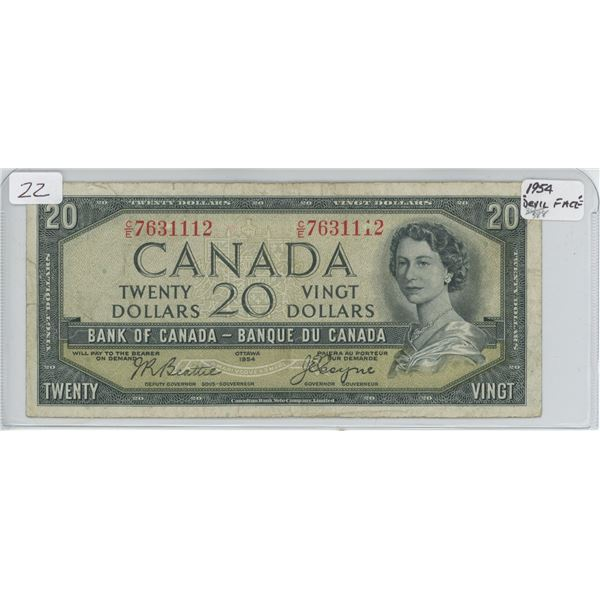 """1954 """"Devil Face"""" Twenty Dollar Bill"""