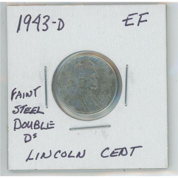 1943 - 0 Faint Double D's Steel Lincoln Cent