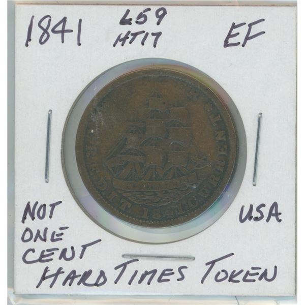 1841 USA Not One Cent Hard Times Token