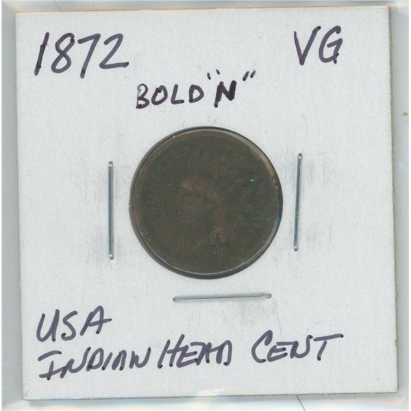 """1872 Bold """"N"""" USA Indiand Head Cent"""