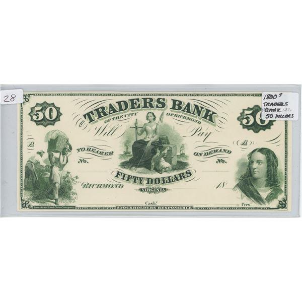 Traders Bank 50 Dollar Note