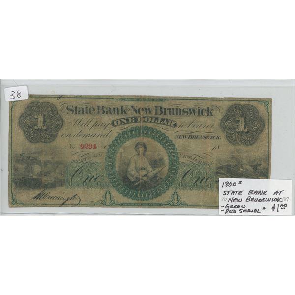 1800-5 State of New Brunswick One Dollar - Large Size