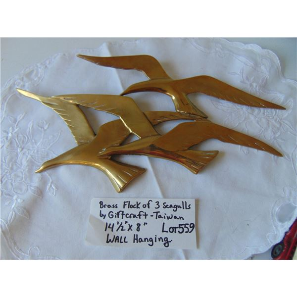 """559 14 1/2"""" BY 8"""" BRASS FLOCK OF SEAGULLS WALL HANGING"""