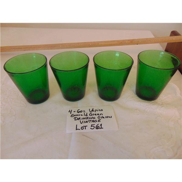"561 4 VINTAGE ""VERECO"" FRANCE EMERALD GREEN 6 OZ DRINKING GLASSES"