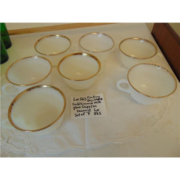 563 7 GOLD TRIMMED MILK GLASS FIRE KING TEA CUPS