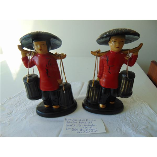 566 FAVOR WARE CHALKWARE HAND PAINTED FIGURINES (ONE REPAIRED: ONE CHIP_