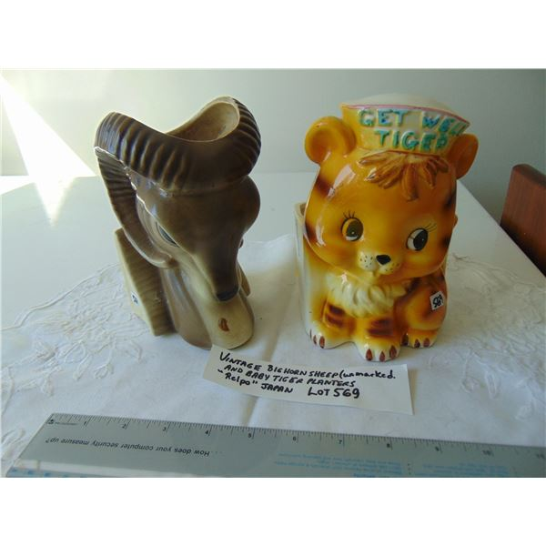 569 VINTAGE UNMARKED BIG HORN SHEEP AND JAPAN MARKED BABY TIGER PLANTERS
