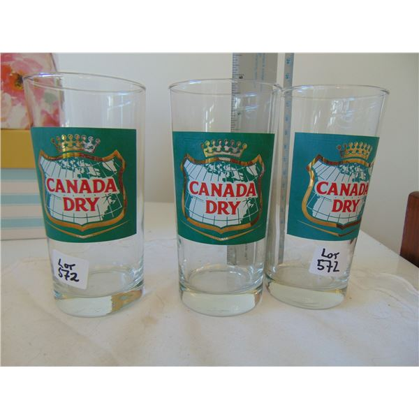 572 3 VINTAG CANADA DRY GLASS TUMBLERS