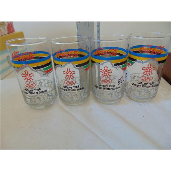574 4 GLASS 1988 CALGARY OLYMPIC GLASSES
