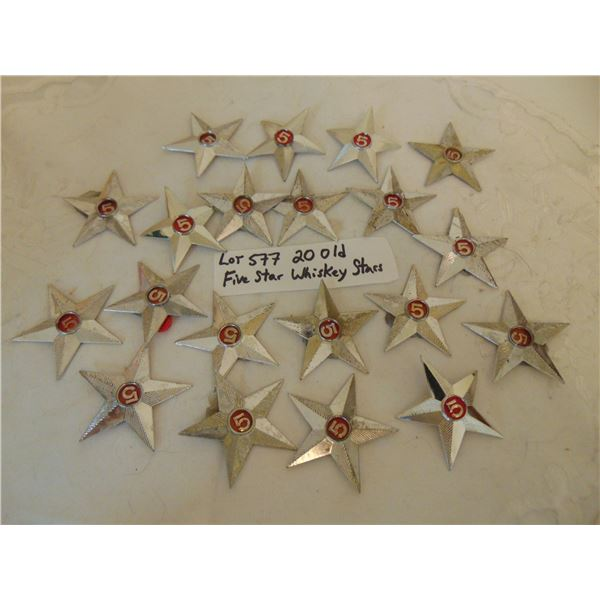 577 LOT OF 20 VINTAGE 5 STAR WHISKY STARS