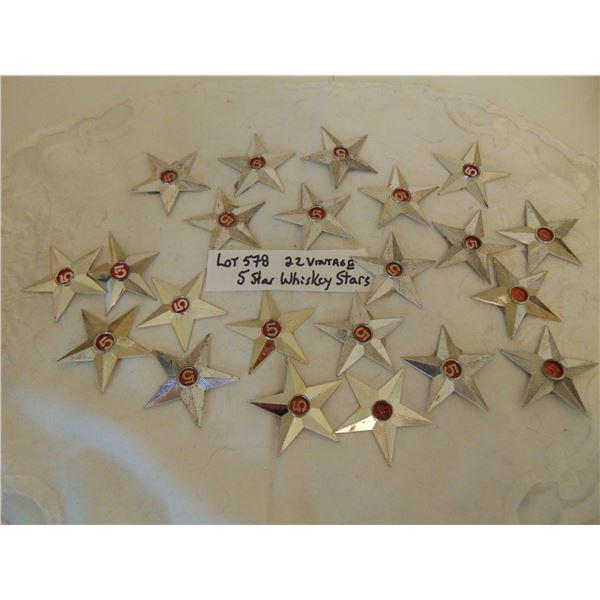 578 LOT OF 22 VINTAGE FIVE STAR WHISKY STARS