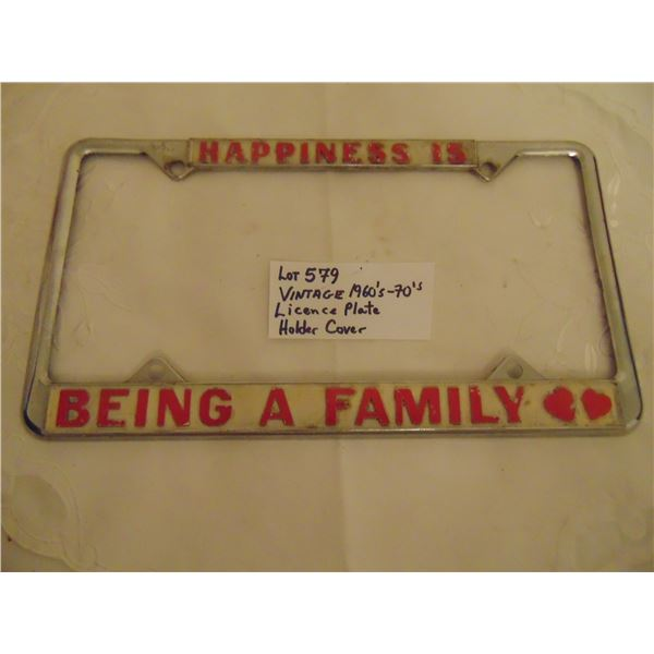 579 VINTAGE 1960'S/70'S METAL LICENCE PLATE COVER