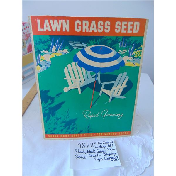 """582 9 ¼"""" X 11"""" VINTAGE COUNTER DISPLAY GRASS SEED AD"""