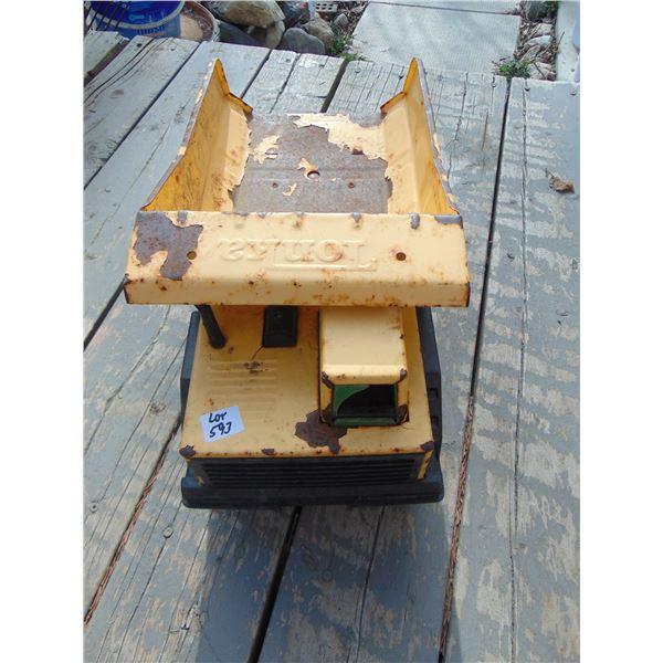 593 VINTAGE LARGE STEEL PLASTIC TIRES TONKA DUMP TRUCK