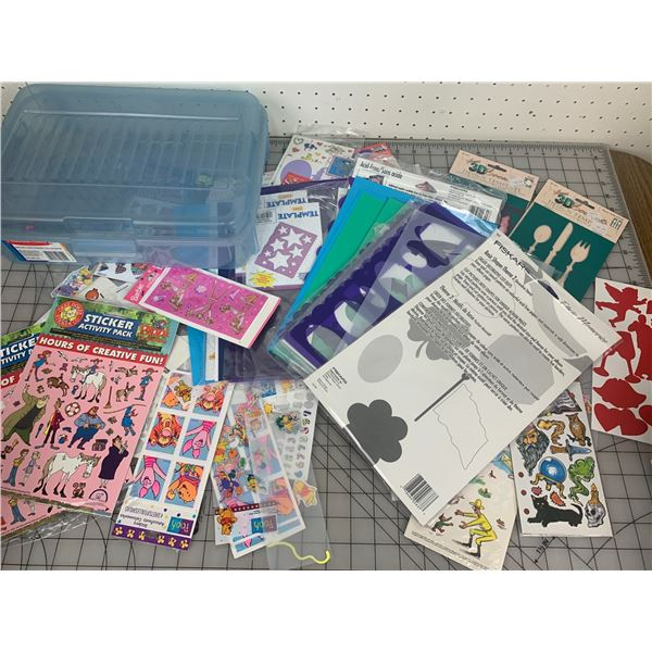LOT OF STICKERS STENCILS ETC WITH CASE