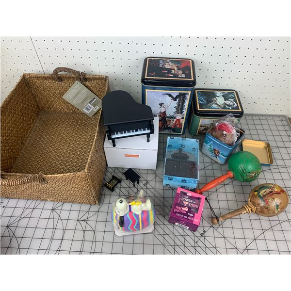 MISC LOT IN BASKET STOVE MINIATURE TINS ETC