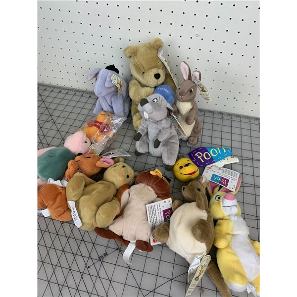 LOT OF POOH BEAR PLUSH TOYS WITH TAGS
