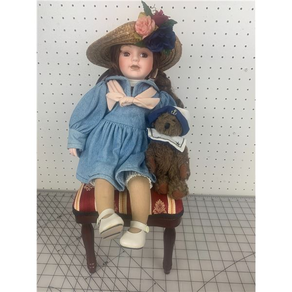 BOYDS COLLECTION DOLL AND DOLL DIPLAY CHAIR