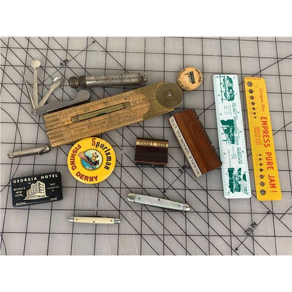 SMALLS LOT POCKET KNIVES TIRE PRESSURE GAUGE ETC