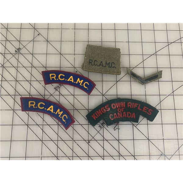 RCAMC AND OTHER CANADIAN WWII PATCHES