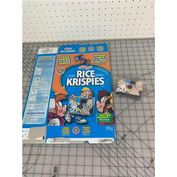 VINTAGE RICE KRISPIES DISPOSABLE CAMERA UNUSED AND CEREAL BOX