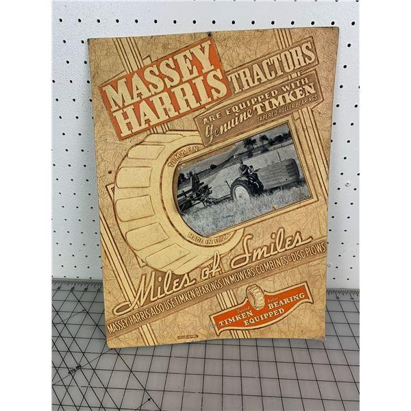 "ORIGINAL MASSEY HARRIS PRESS BOARD ADVERTISING SIGN 17 1/4"" x 13"""