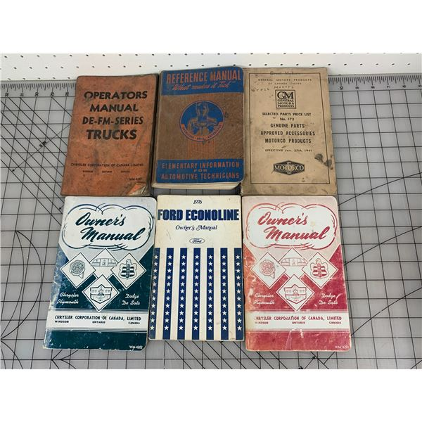 VINTAGE VEHICLE BOOKS AND MANUALS
