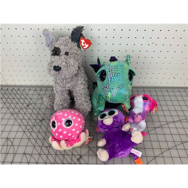 LOT OF TY BEANIE BABIES DRAGON OCTOPUS ETC