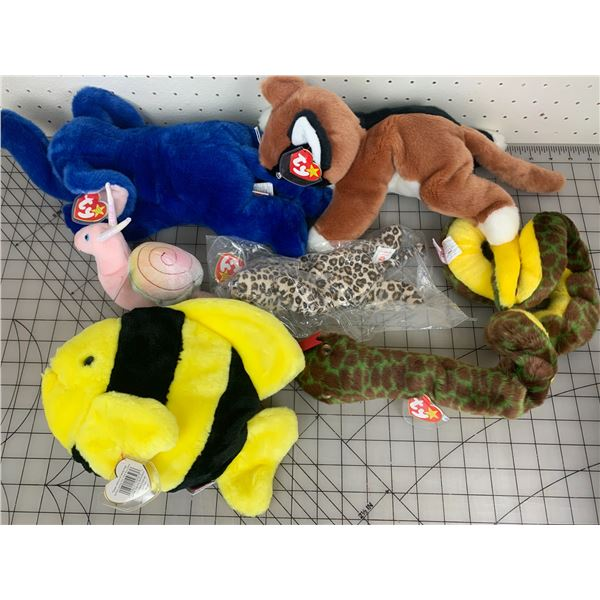 LOT OF TY BEANIE BABIES FISH SNAIL CAT SNAKE