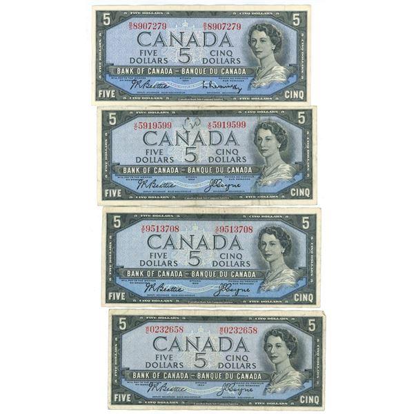 Lot of 5 1954 Cdn $5 Bills
