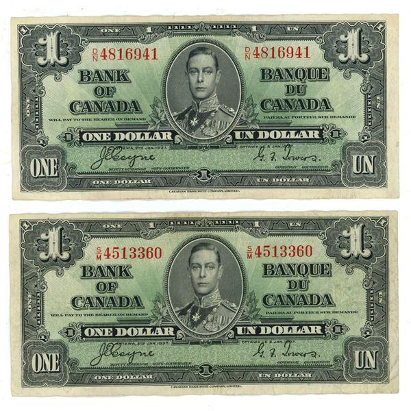 Two 1937 CDN $1