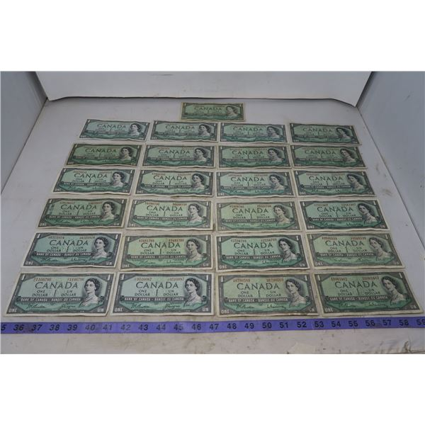 Lot of 25 1954 CDN $1 bills