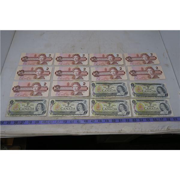 1973 CDN $2 (10) and CDN $1 (6)