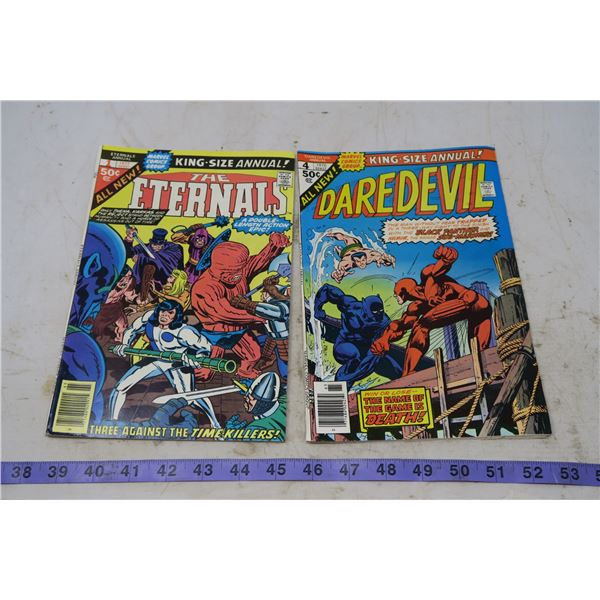The Eternals 50 cents, 1977 #1 and Daredevil, 50 cents, 1976 #4