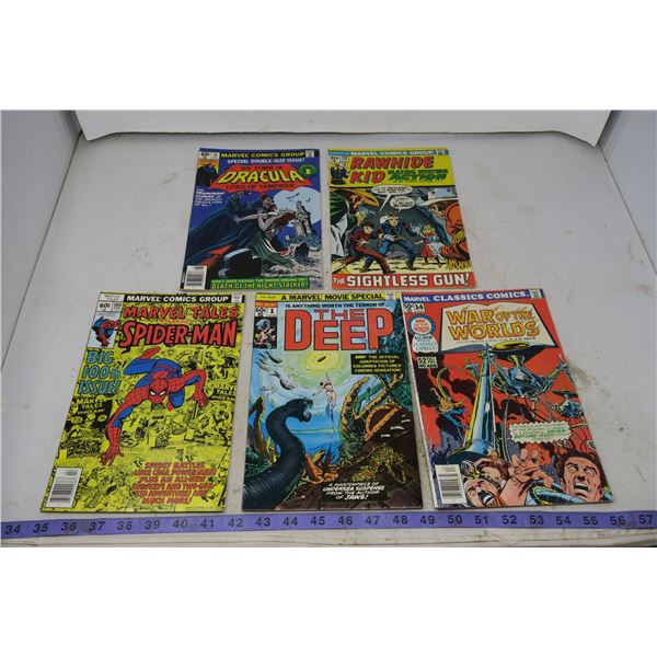 Tales of Spiderman 60 cent 1978 #100; War of the World 50 cent, 1976, #14; Tomb of Dracula 60 cent,