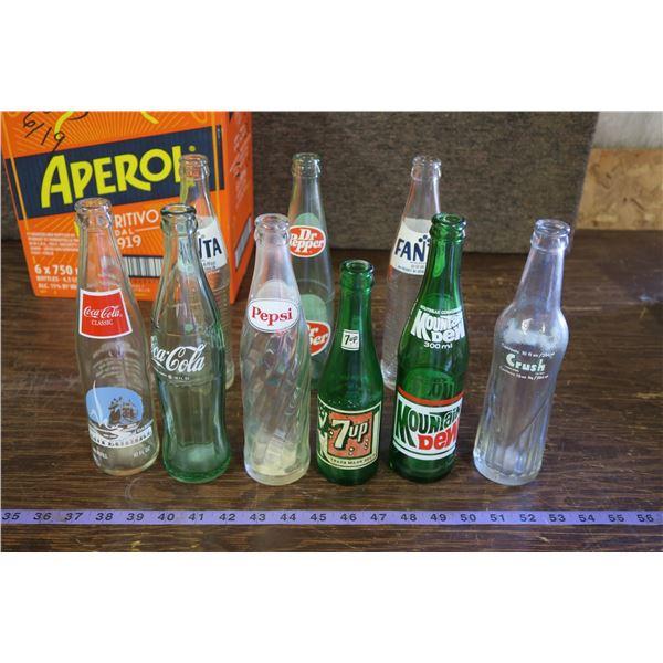 Lot of 9 Vintage Soda Bottles