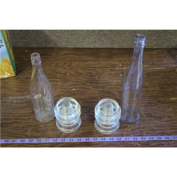 2 Vintage Bottles, 2 Insulators