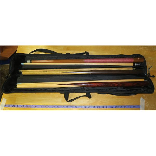 Dufferin Cues, various With case for 3 cues Various weights, excellent