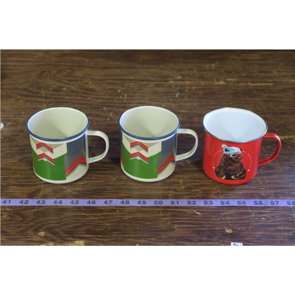 Lot of 3 Tin Cups