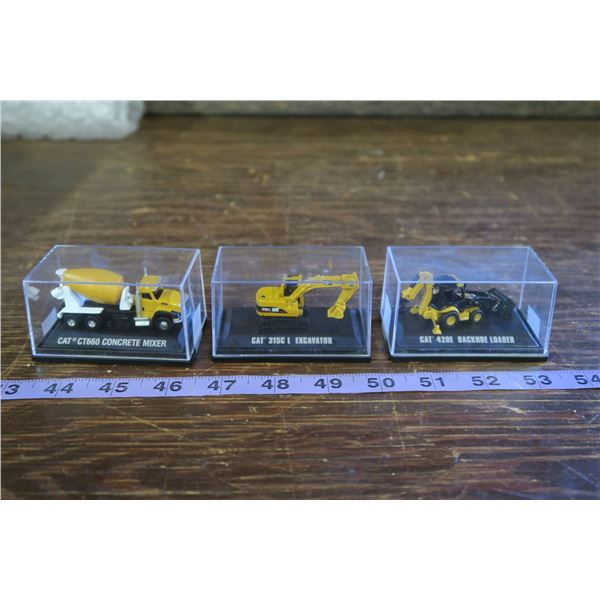 Set of three ultra mini scale CAT Toys