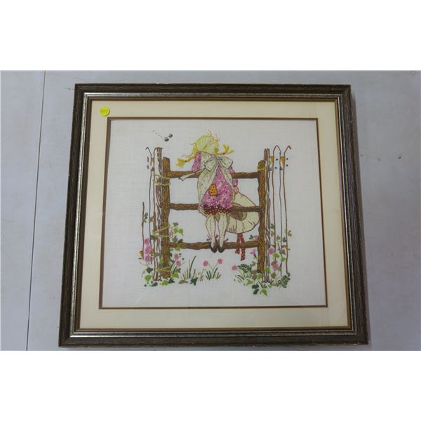 """Fabric Picture with Glass/Wood Frame - 10 3/4""""x18 1/2"""""""