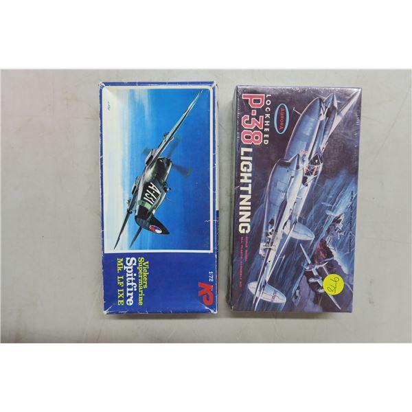 Model Planes X2 - 1:72 Scale - Spitfireand Lockheed Lightning