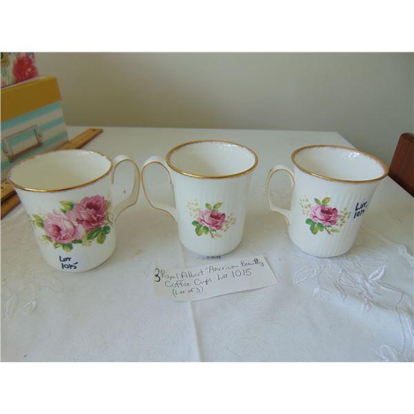 1015 LOT OF 3 ROYAL ALBERT AMERICAN BEAUTY COFFEE CUPS