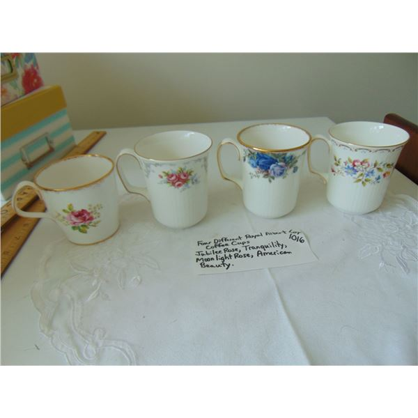 1016 FOUR DIFFERENT ROYAL ALBERT COFFEE CUPS
