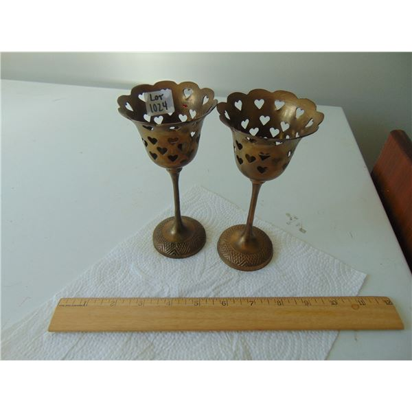 1024 SOLID BRASS GOBLET SHAPE CANDLE HOLDERS