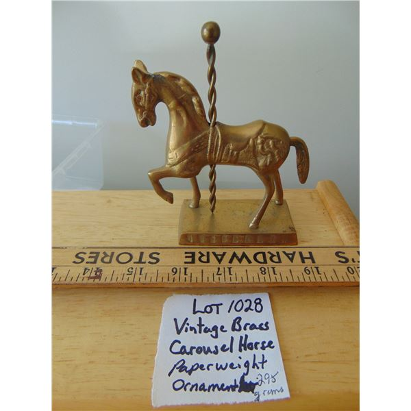 1028 VINTAGE BRASS CAROUSEL HORSE PAPERWEIGHT ORNAMENT