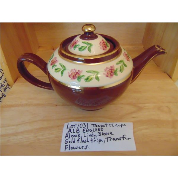 1031 VINTAGE ALB ABOUT 2 CUP TEAPOT WITH FLOWER TRANSFERS