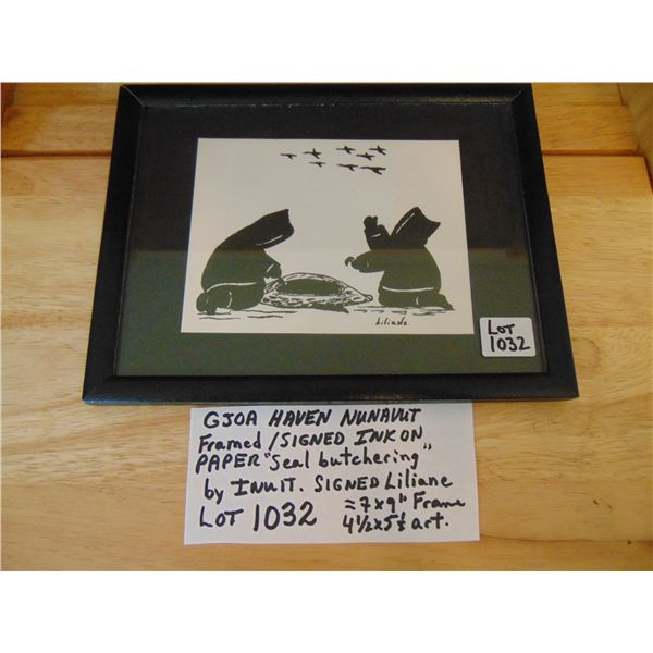 1032 GJOA HAVEN NUNAVUTINK ON PAPER SIGNED ARTWORK HARVESTING SEAL