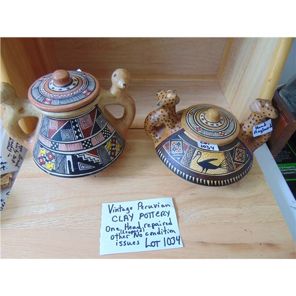 1034 VINTAGE PURUVIAN CLAY POTTERY POTS ONE REPAIRED BOTH HAVE LIDS