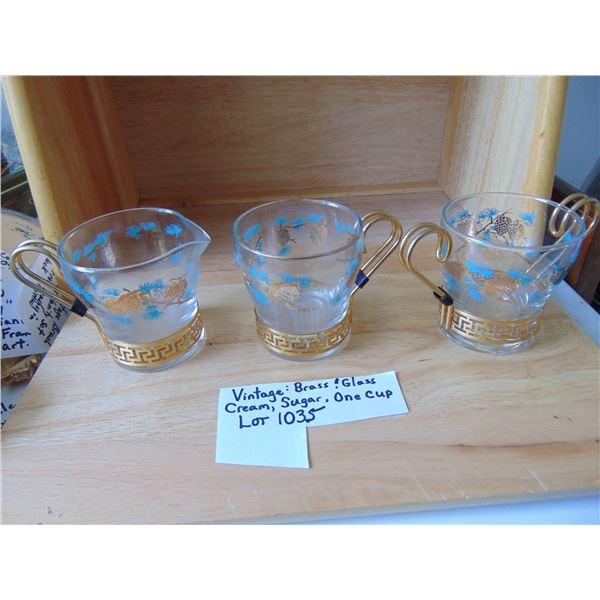 1035 VINTAGE BRASS & GLASS CREAM & SUGAR SET & 1 CUP J ON BOTTOM (JEANNETTE?)